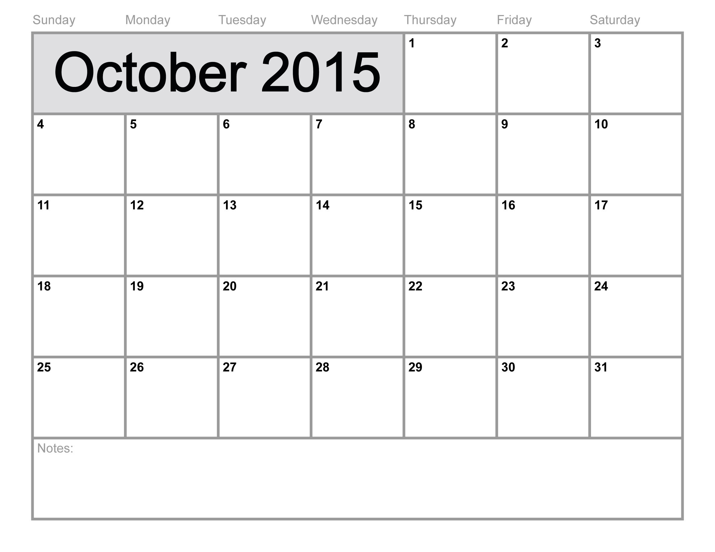 9 Images of Blank October 2015 Calendar Printable Template