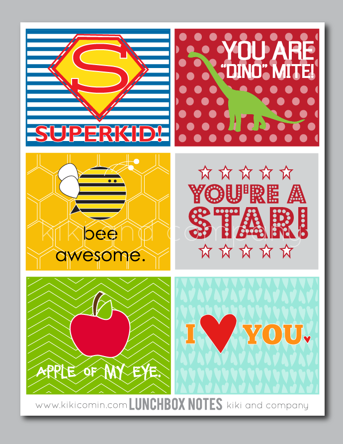Kids Lunch Box Notes Printable