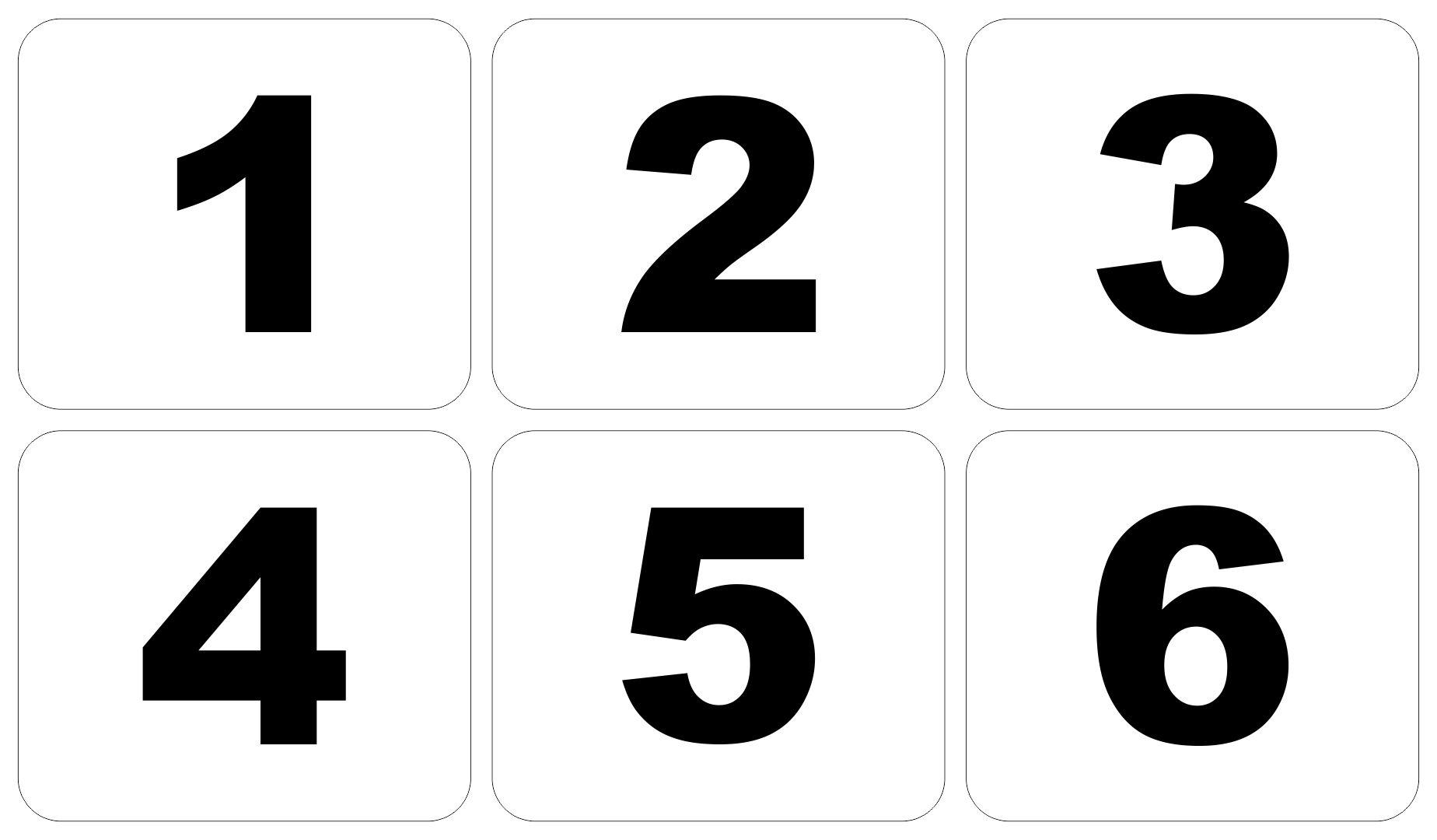 Large Printable Numbers 1 6