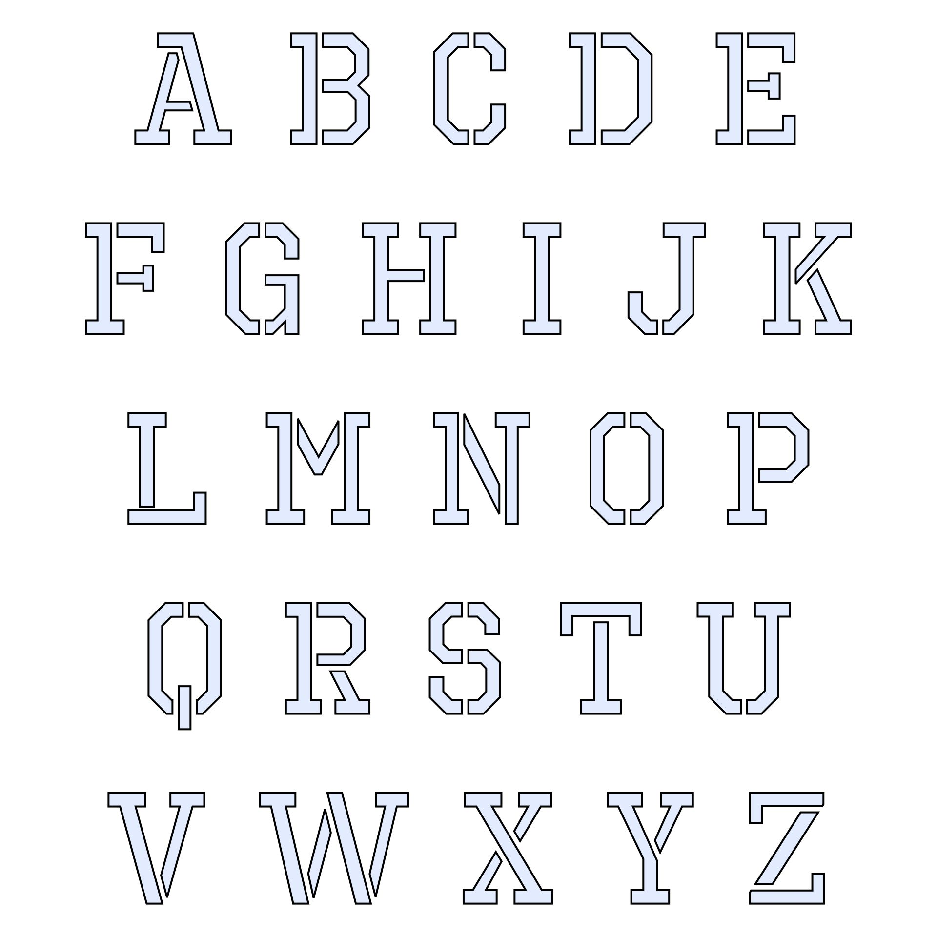 Letter Stencils to Print and Cut Out