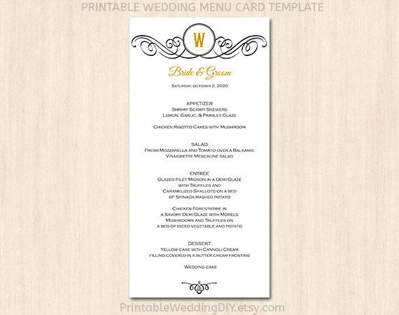 7 best images of printable wedding menu cards templates for Free printable menu templates