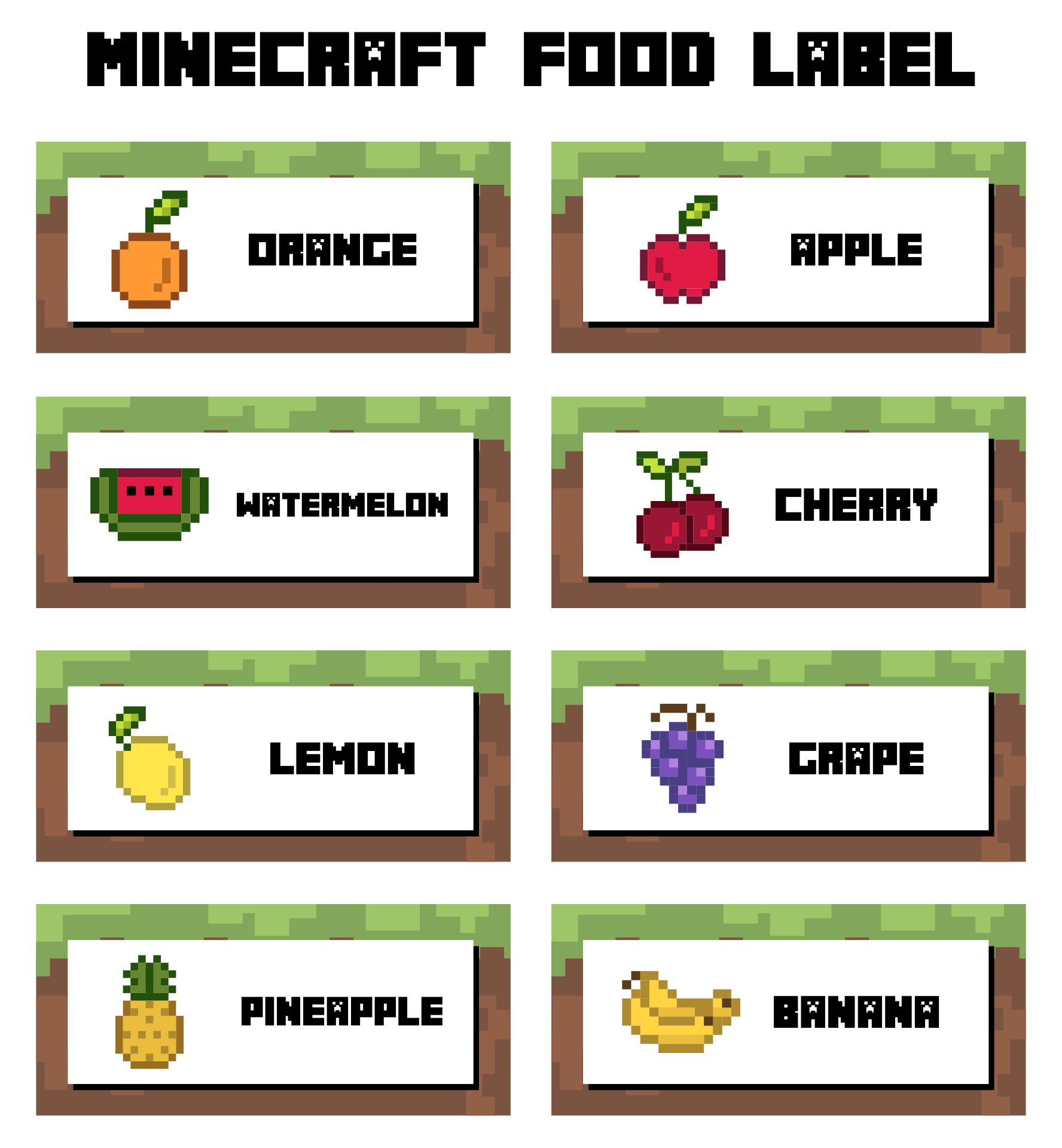 This is a picture of Free Printable Minecraft Food Labels with candy