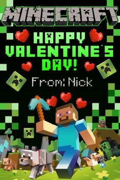 8 Images of Valentine's Printable Minecraft Cube