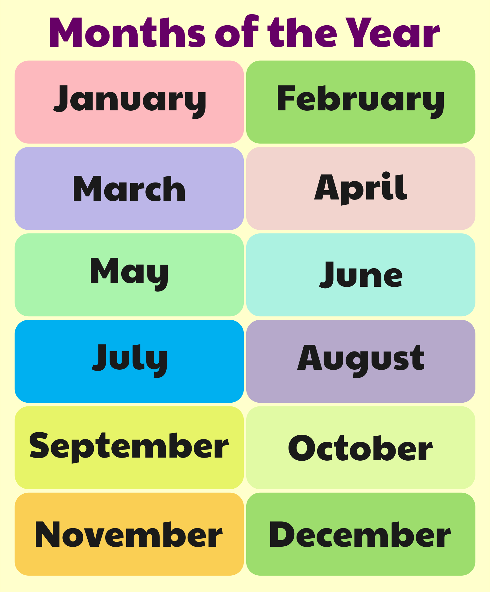 6 Images of Free Printable Months Of The Year Chart