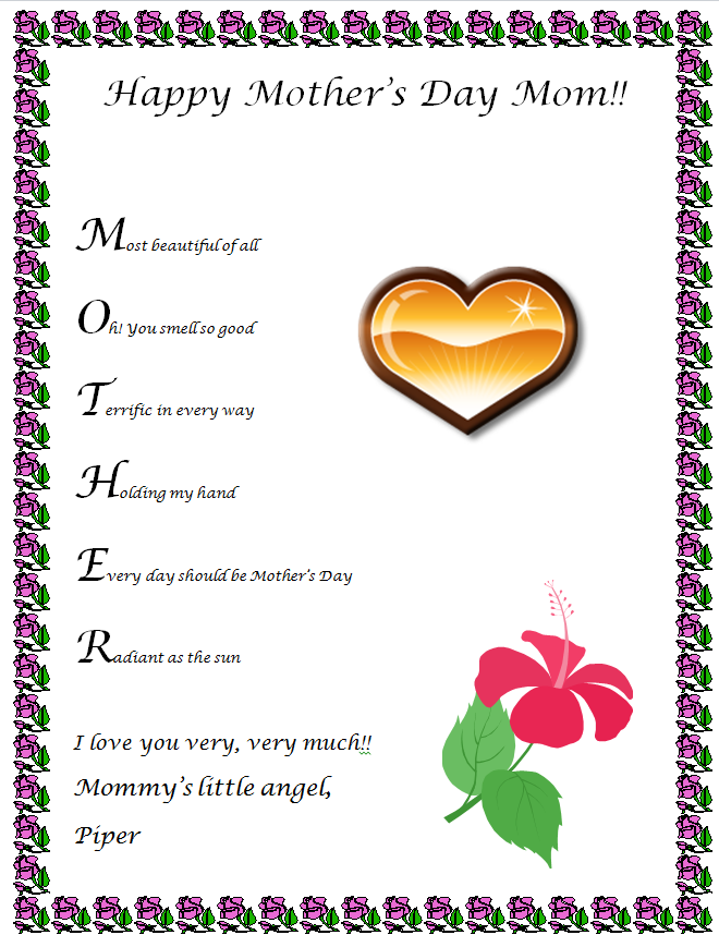 6 Images of Mother's Day Acrostic Poem Printable