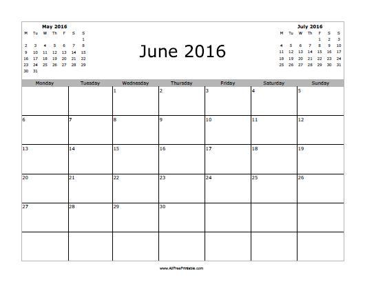 8 Images of Free Printable June Calendar 2016