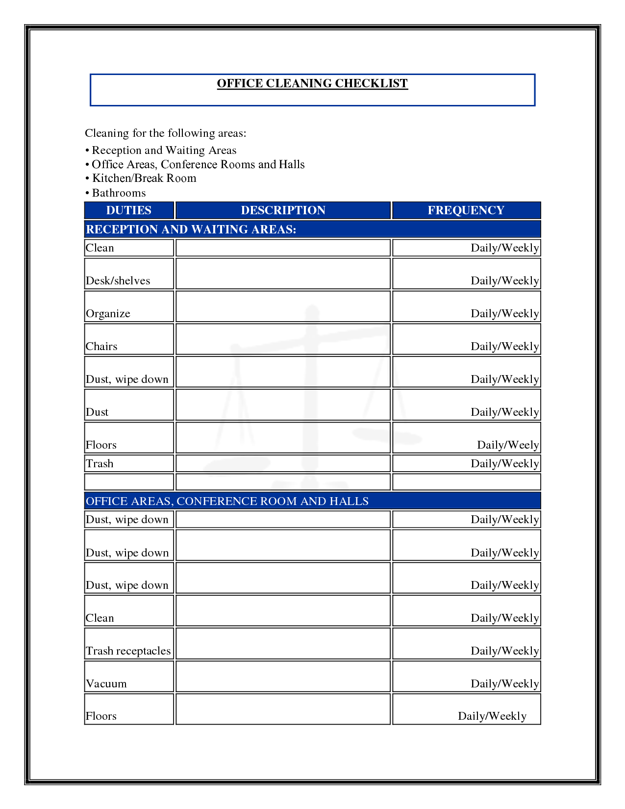 7 best images of commercial cleaning checklist printable for Commercial cleaning checklist templates free