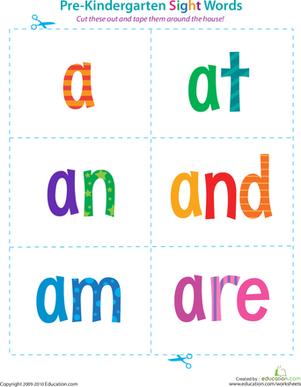 Number Names Worksheets printable sight words for kindergarten : 5 Best Images of Pre-Kindergarten Sight Words Printable - Pre ...