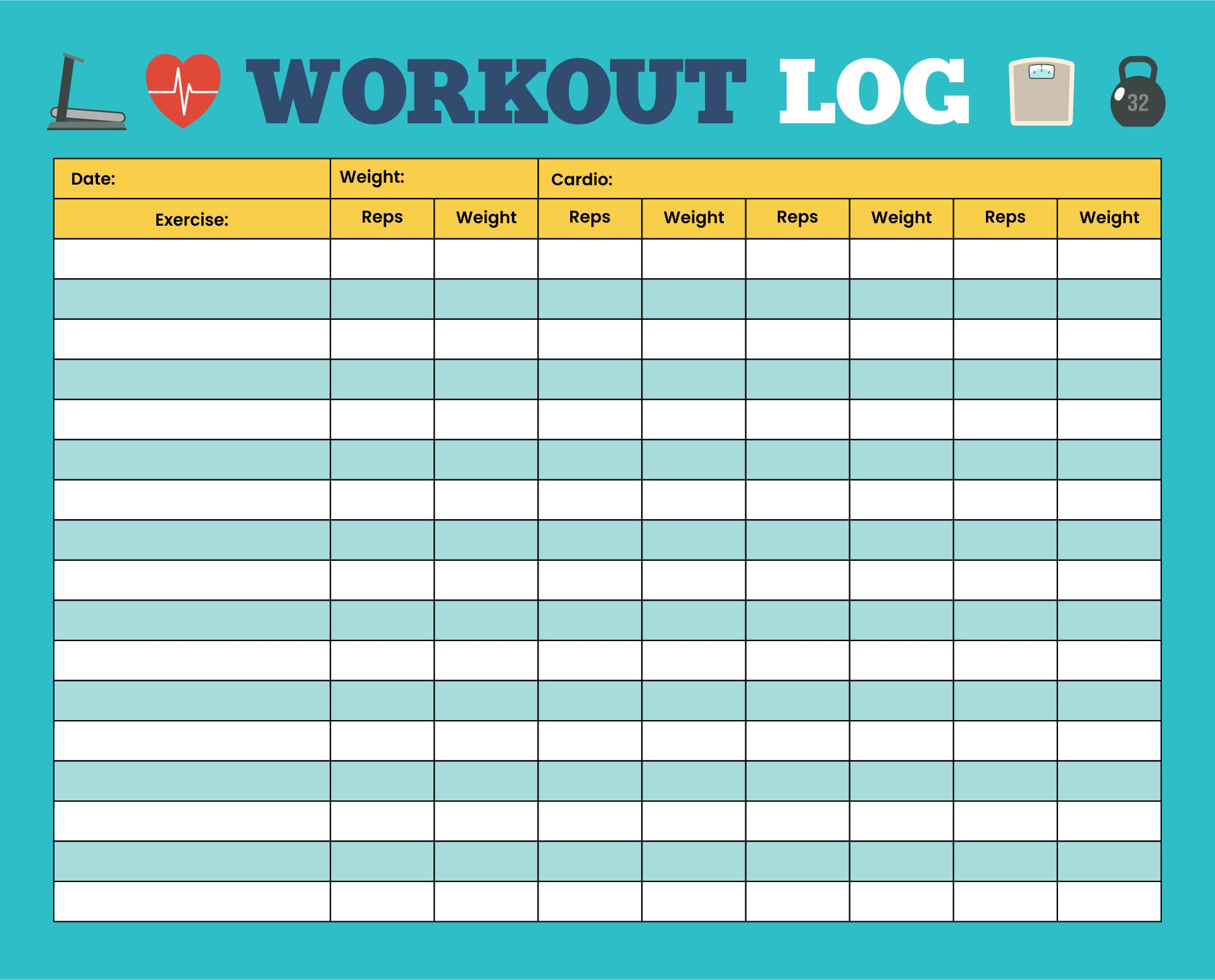 6 Images of Cardio Workout Log Template Free Printable