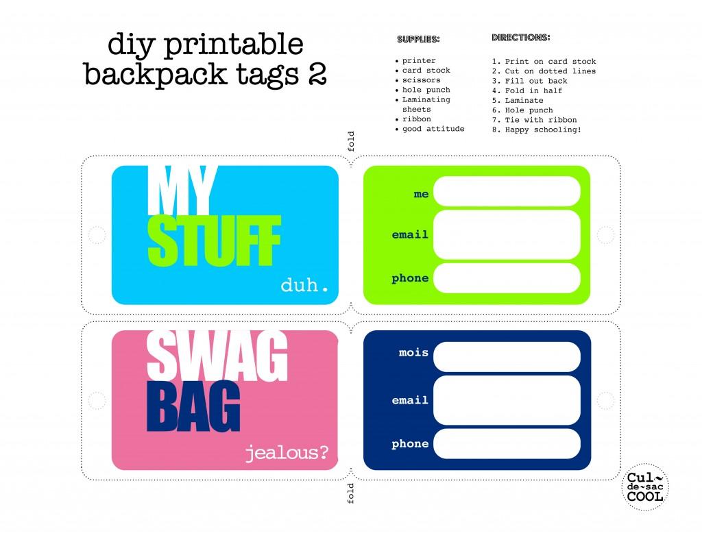 Printable Luggage Tags Template for Kids