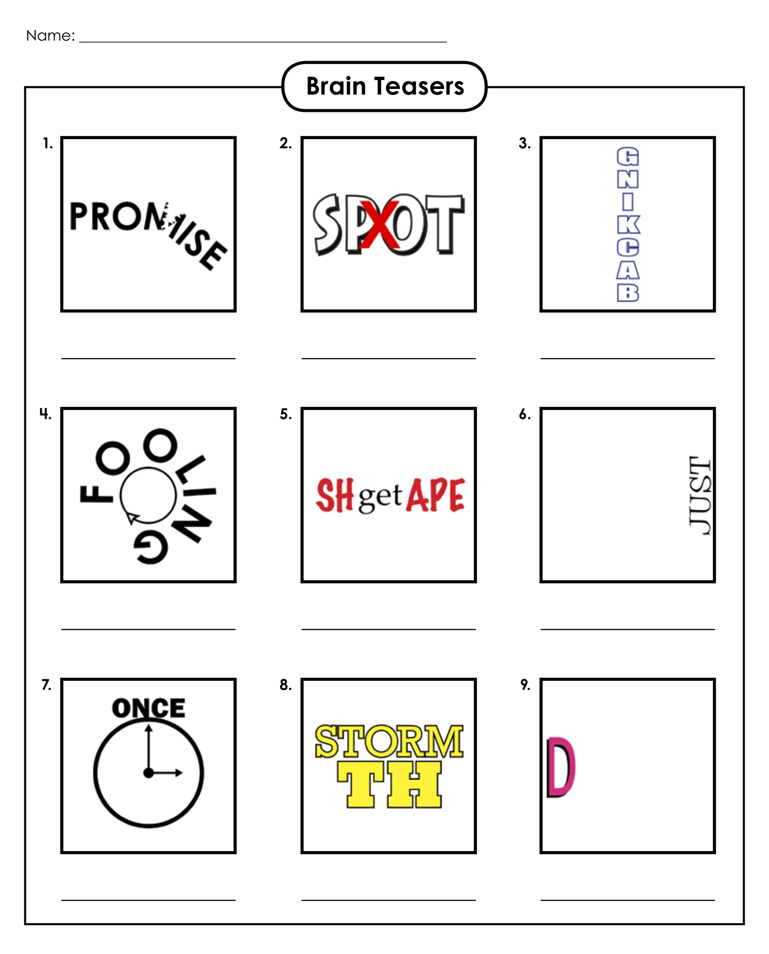 Rebus Puzzle Brain Teasers Worksheets