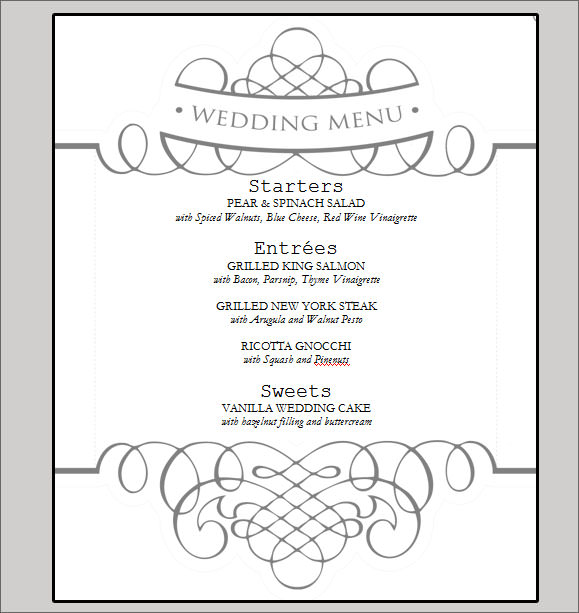 7 best images of printable wedding menu cards templates for Menu templates for weddings