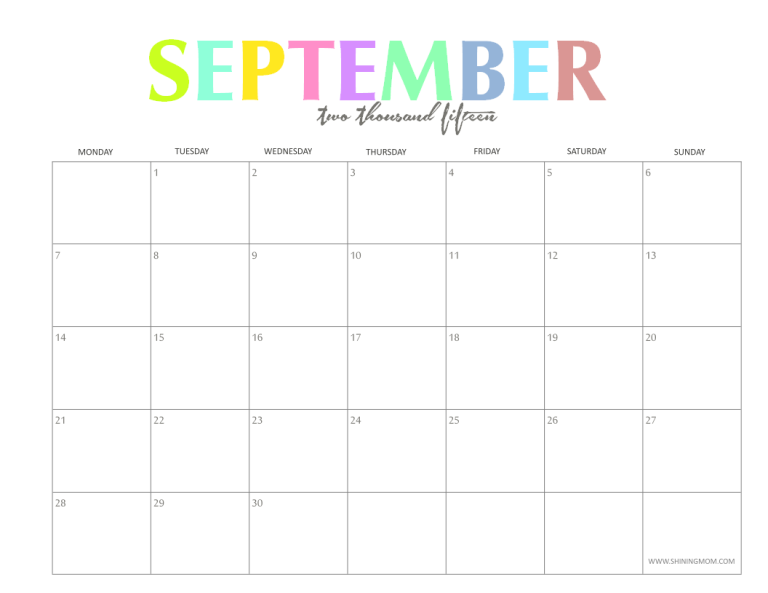7 Best Images Of Cute Printable 2015 Monthly Calendar