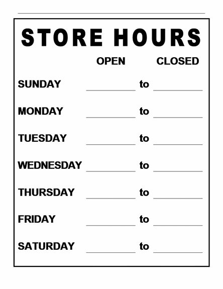 Business hours sign template word 28 images business for Hours of operation template microsoft word