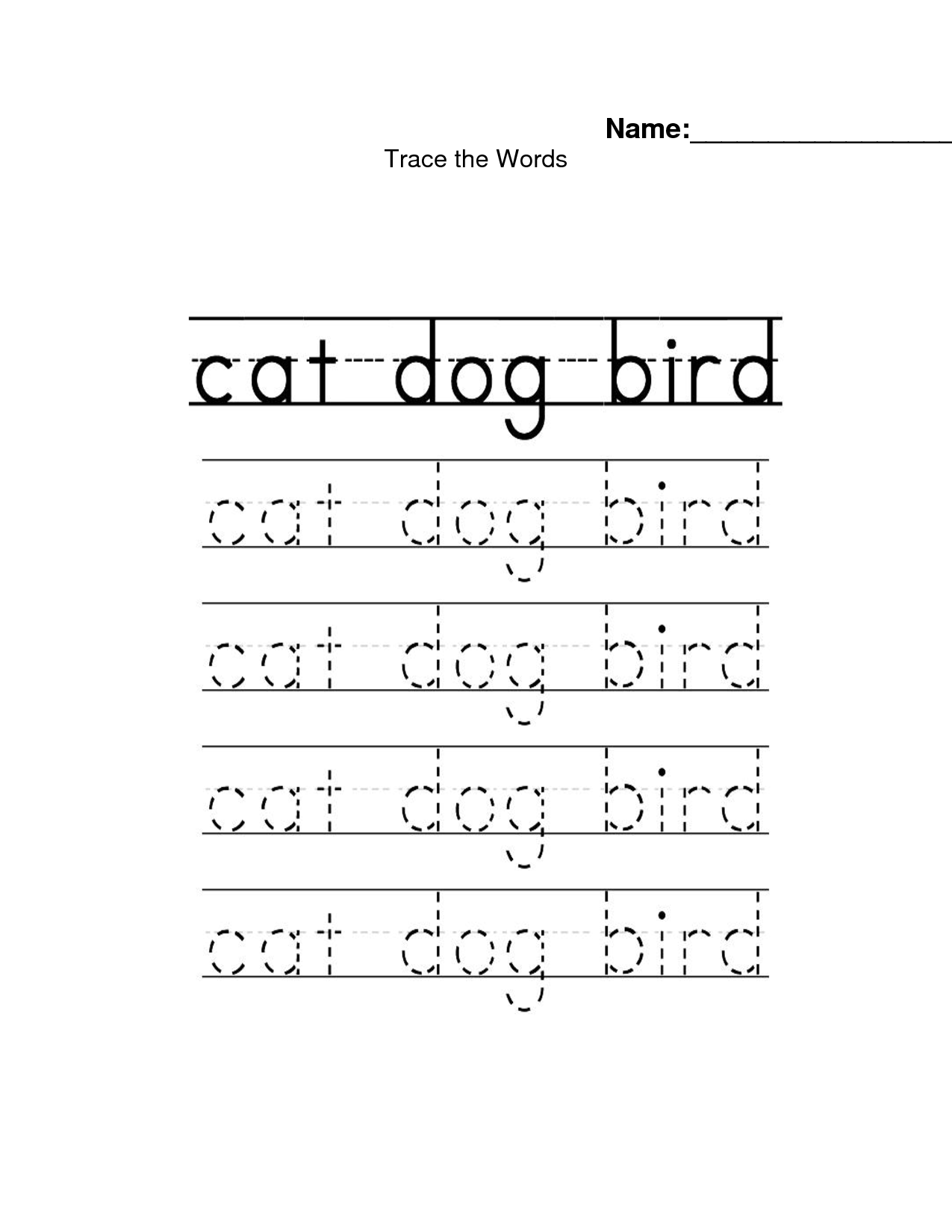 5 Images of Printable Sight Word Tracing Printables