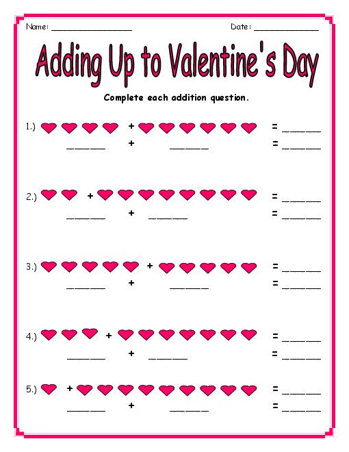 Worksheets Valentines Worksheets 7 best images of valentines day free printable worksheets math worksheets
