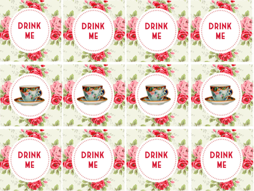 4 Images of Alice In Wonderland Tea Party Free Printables