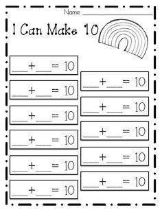 Printables Making Ten Worksheets making ten worksheets davezan collection of make 10 bloggakuten