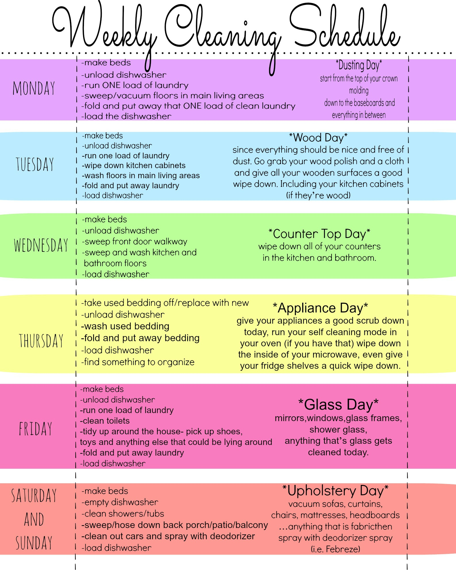5 Images of Weekly Cleaning Schedule Template Printable