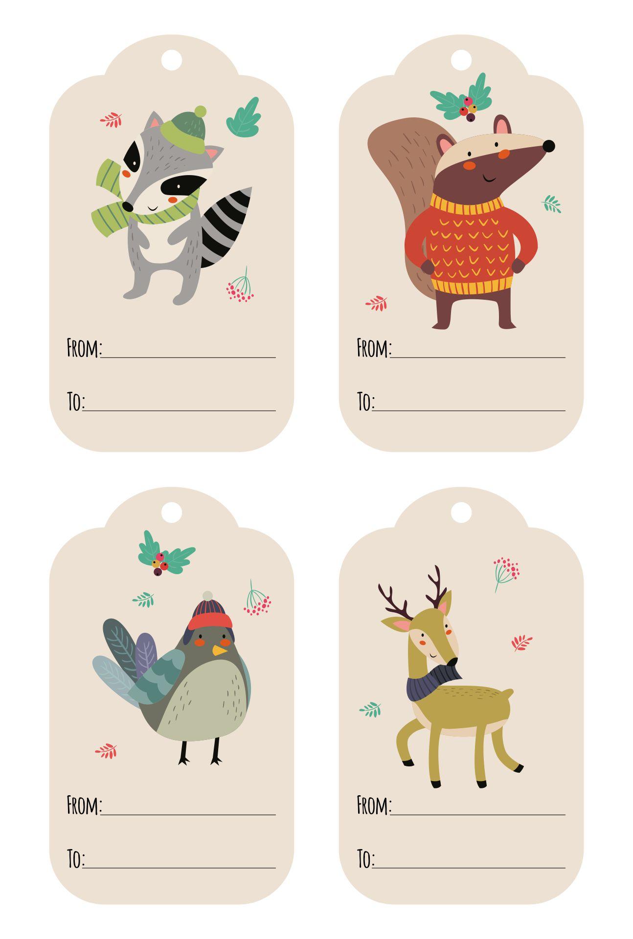 Woodland Christmas Gift Tags Printable Free