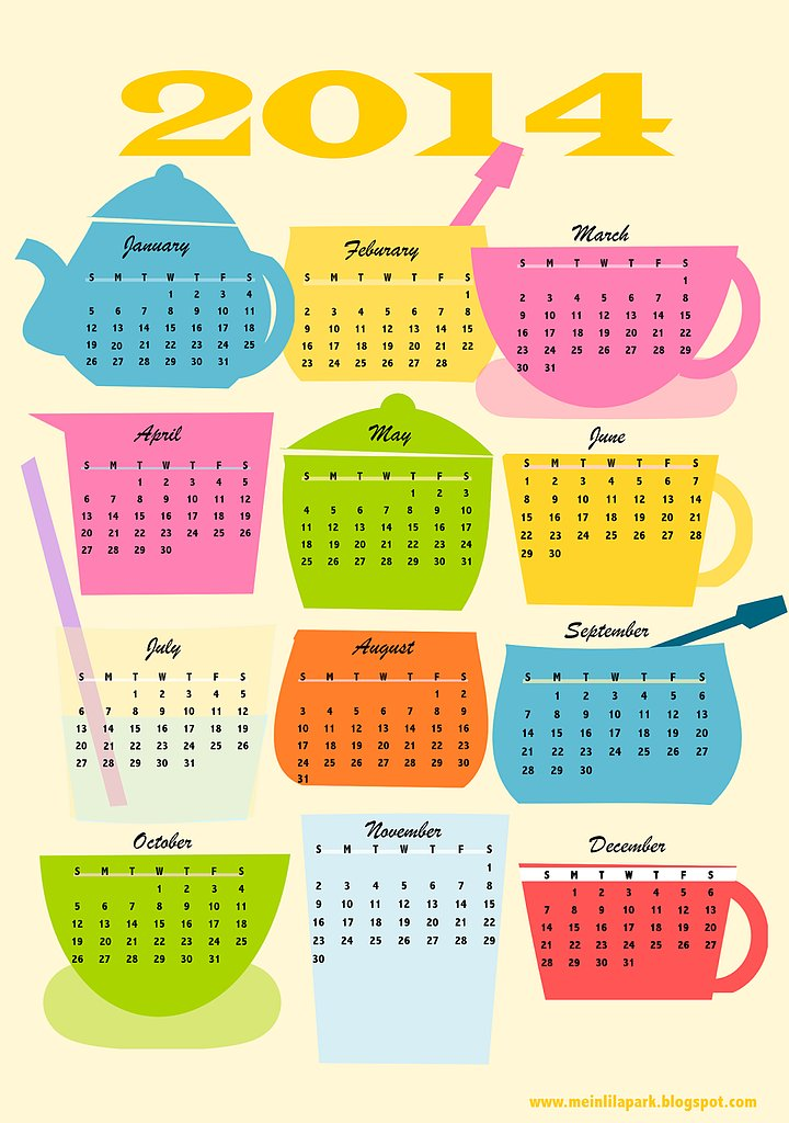 2014 Calendar Printable Free Pages