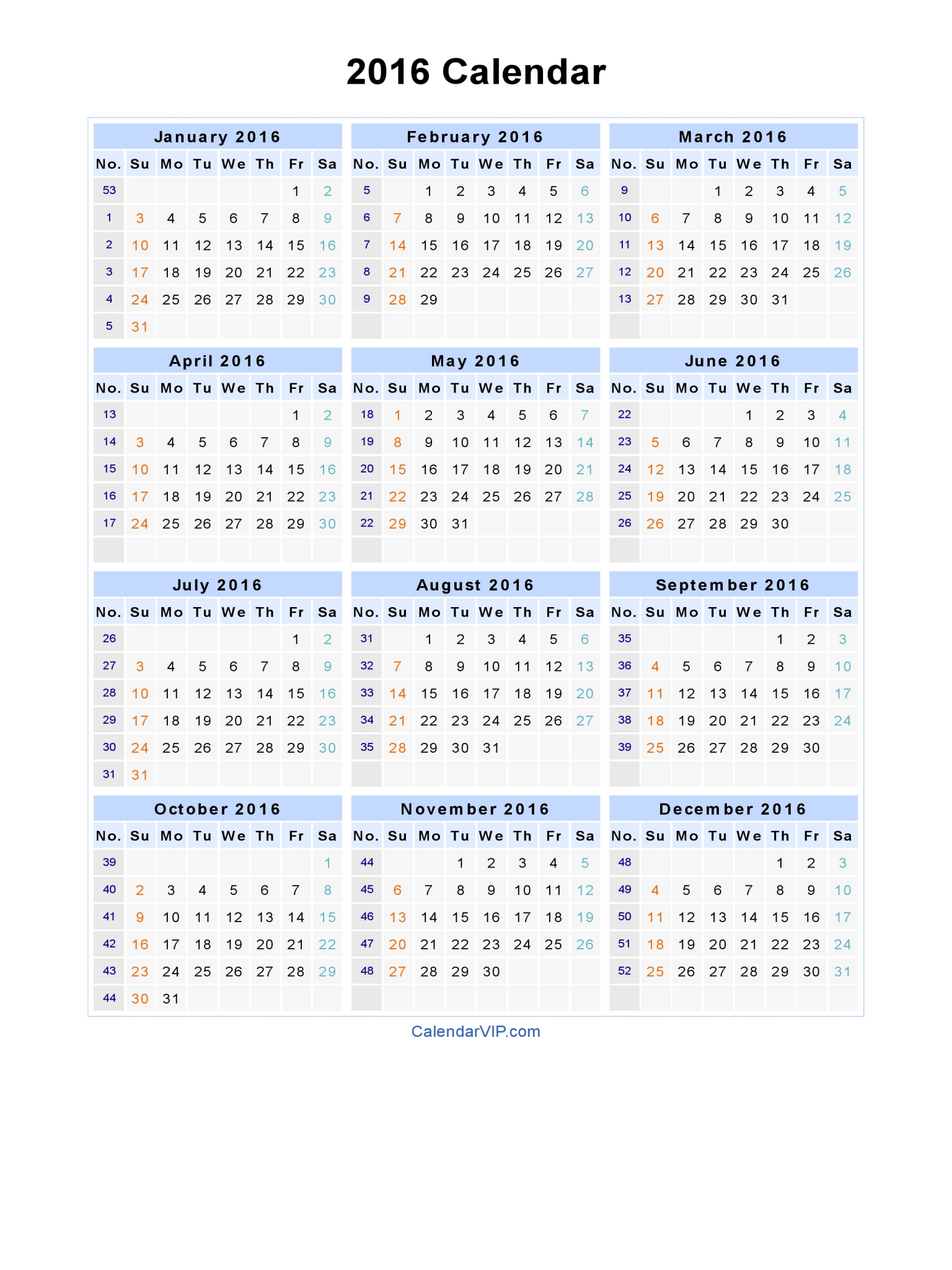 2016 Yearly Calendar Printable One Page