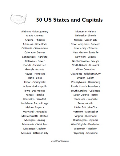 7 best images of states capitals list printable 50
