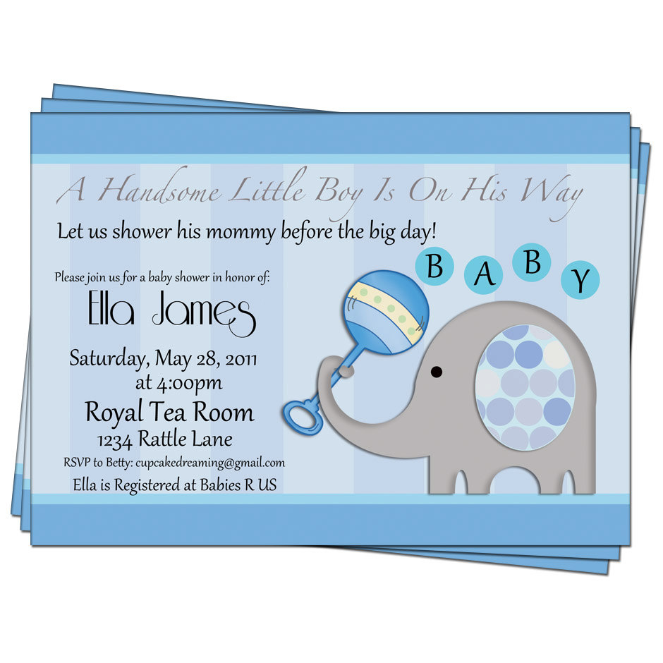 Baby Shower Invitations Wording For Boys: 7 Best Images Of Elephant Baby Shower Free Printable