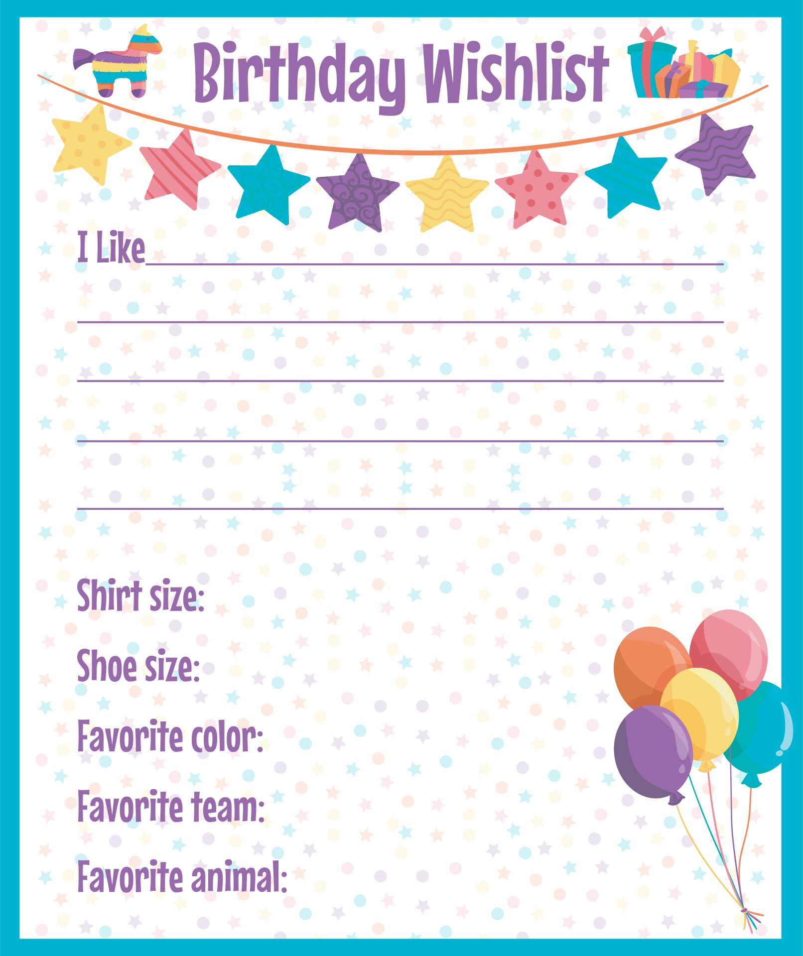 Birthday Wish List Printable