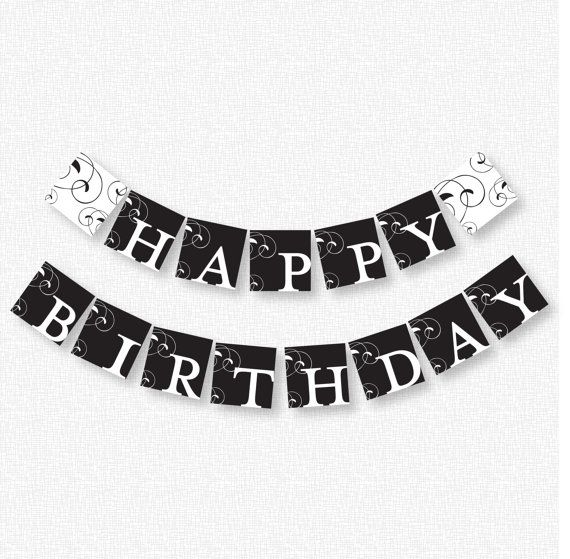 7 Images of Happy Birthday Banner Printable Black And White