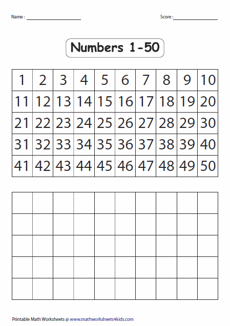 Blank Number Chart 1 50