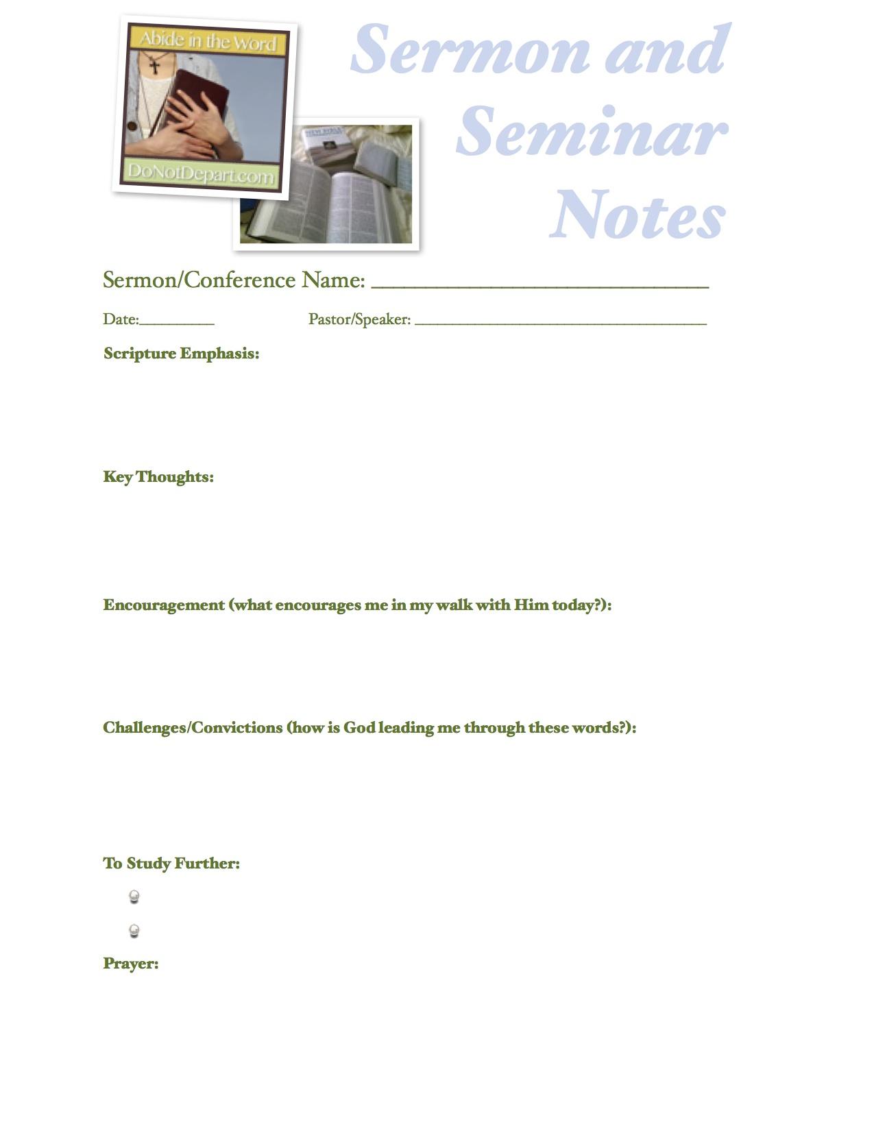 Blank Sermon Notes Printables
