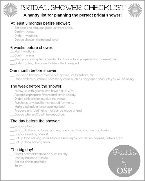 6 Images of Printable Bridal Shower Checklist