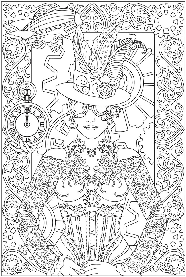 9 Images of Free Steampunk Printable Coloring Pages