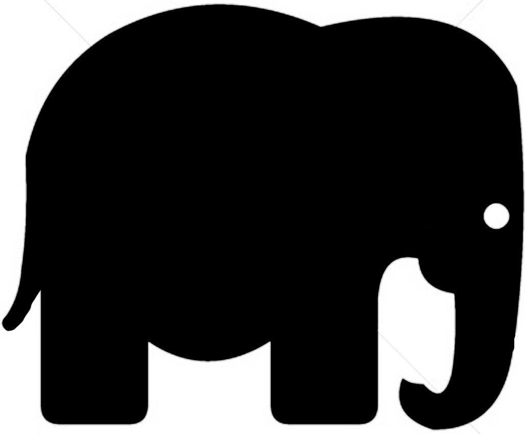 4 Images of Sillohuette Elephant Stencil Printable