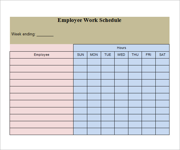 Employee Weekly Work Schedule Template