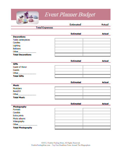 7 Images of Free Printable Party Budget Worksheet