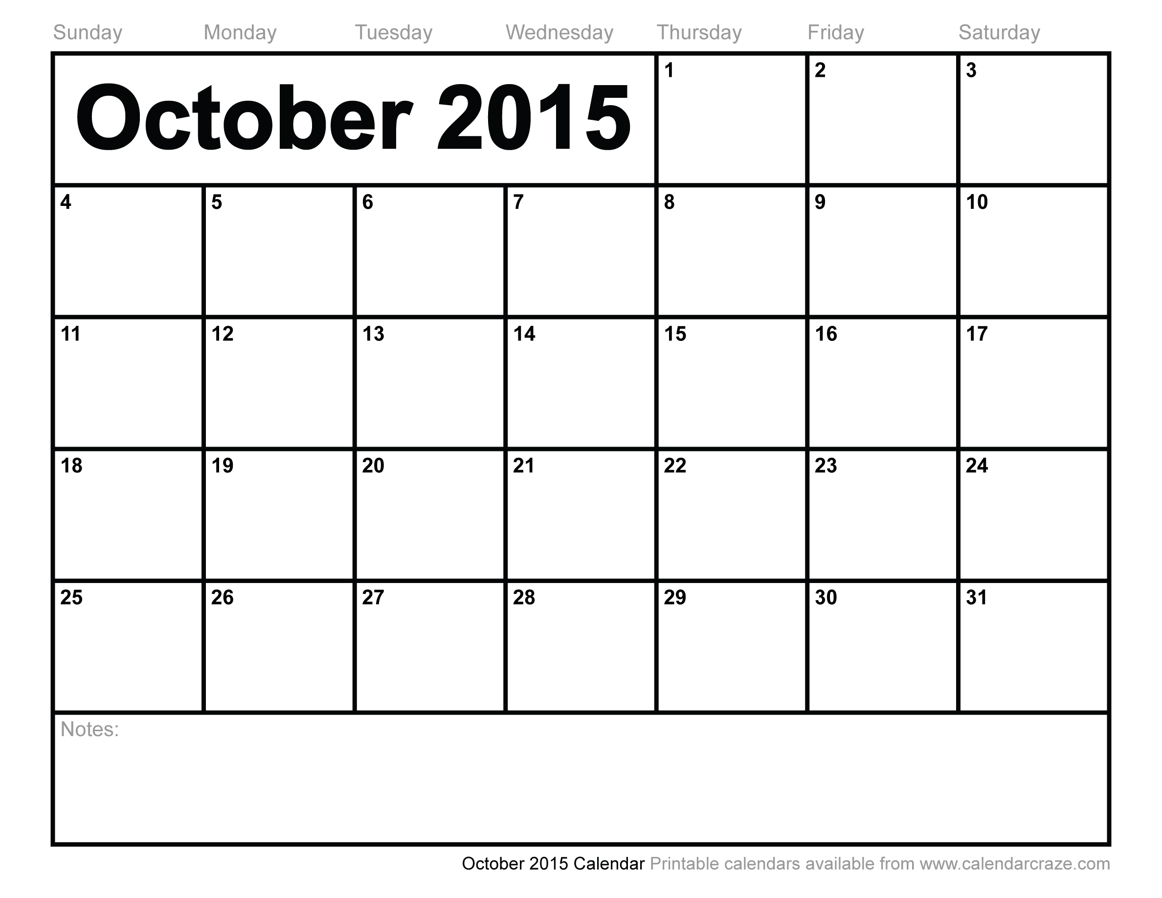 8 Images of Printable 2015 Monthly Calendar October