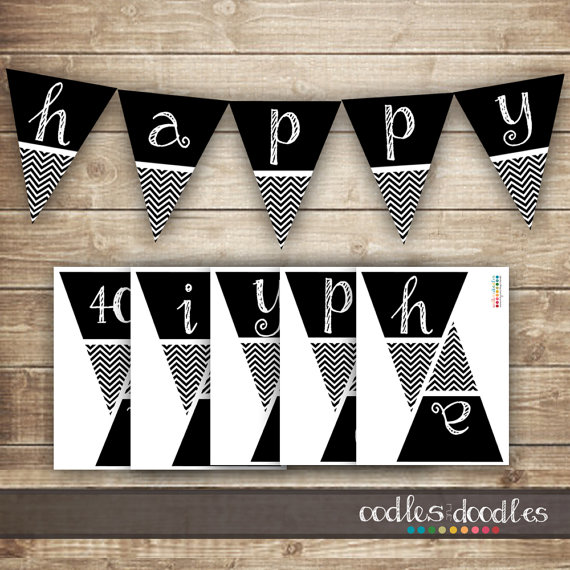 7 Best Images of Happy Birthday Banner Printable Black And ...