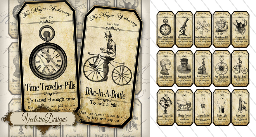 9 Images of Printable Steampunk Apothecary Labels