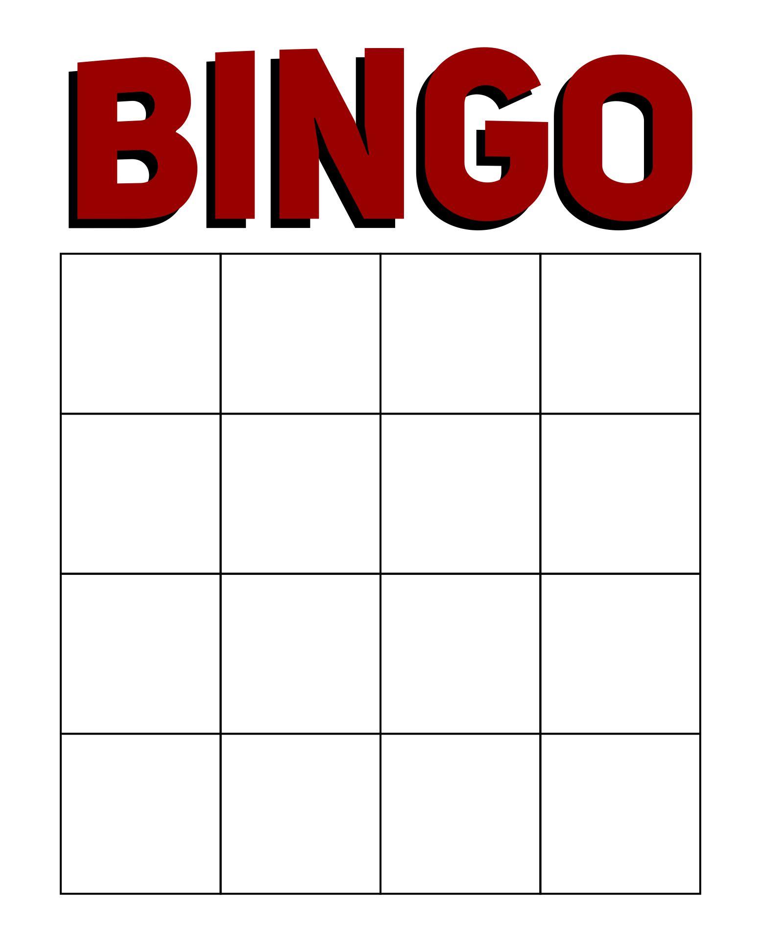 Printable Blank Bingo Cards Template 4 X 4