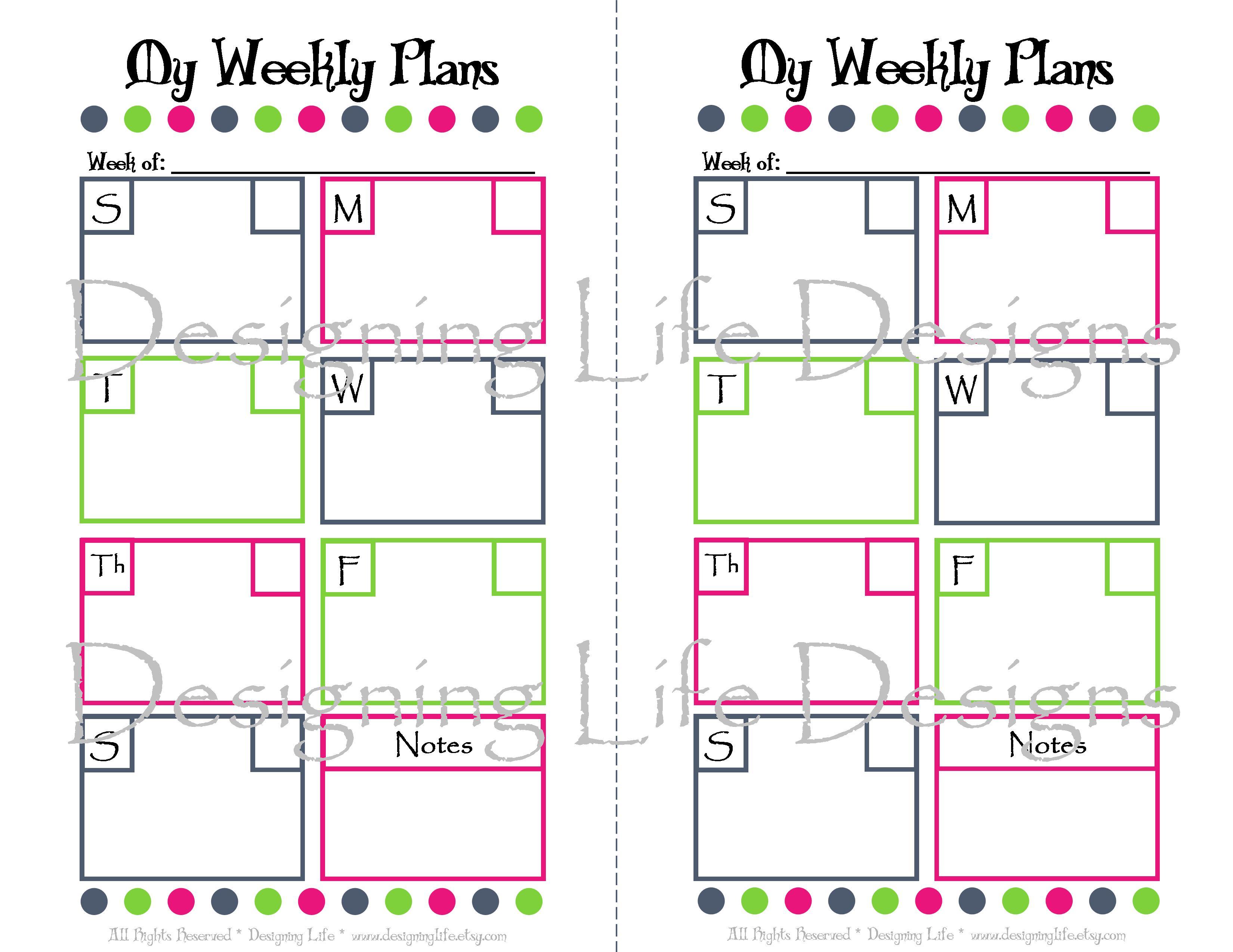 Weekly Calendar Half Sheet : Best images of free printable planner refills