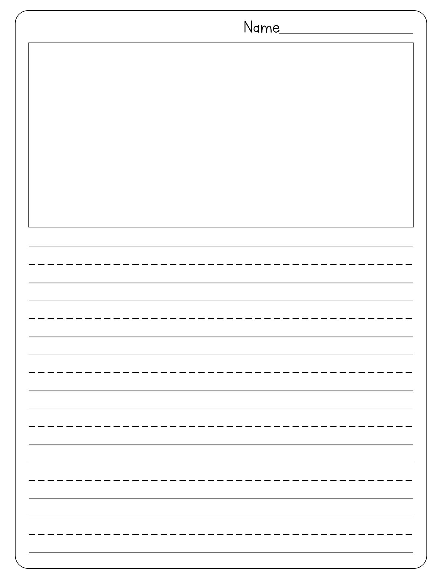 blank kindergarten writing paper