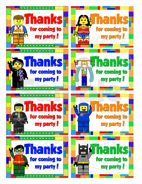 6 Images of Printable LEGO Thank You For Coming Tags