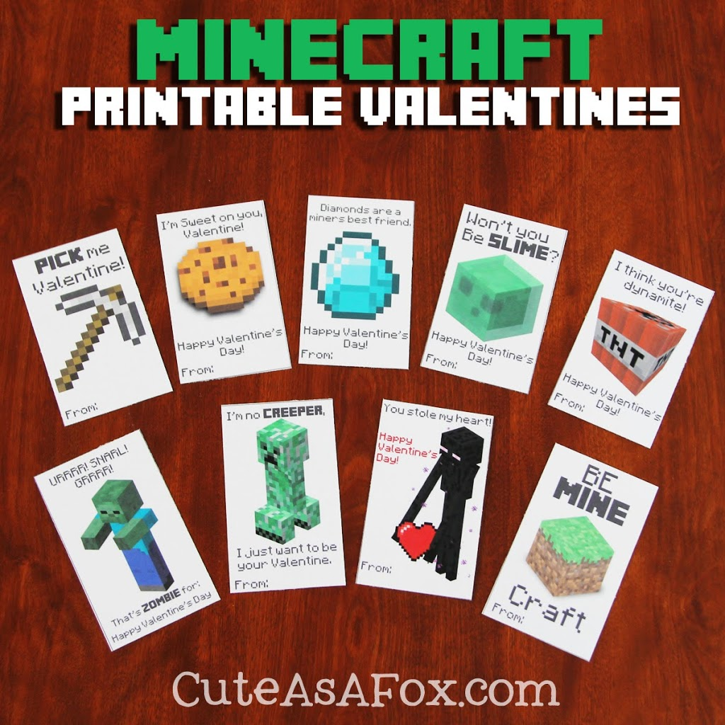 8 Images of Printable Minecraft Valentine's Box Ideas