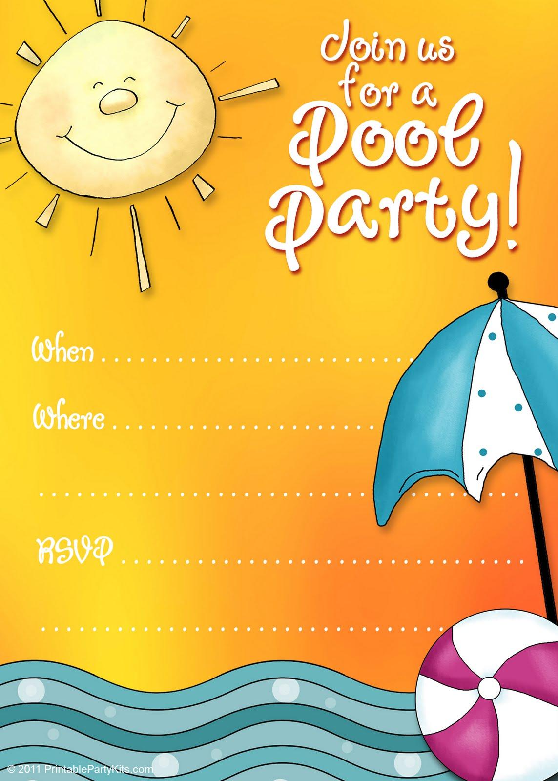 See free printable pool party invitations blank pool party invitation