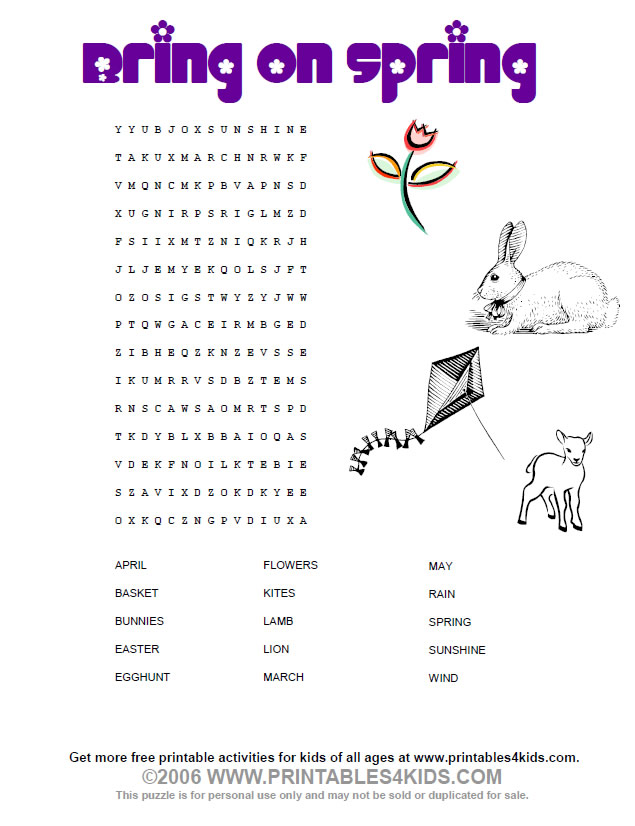 Free Printable Spring Word Search Puzzles