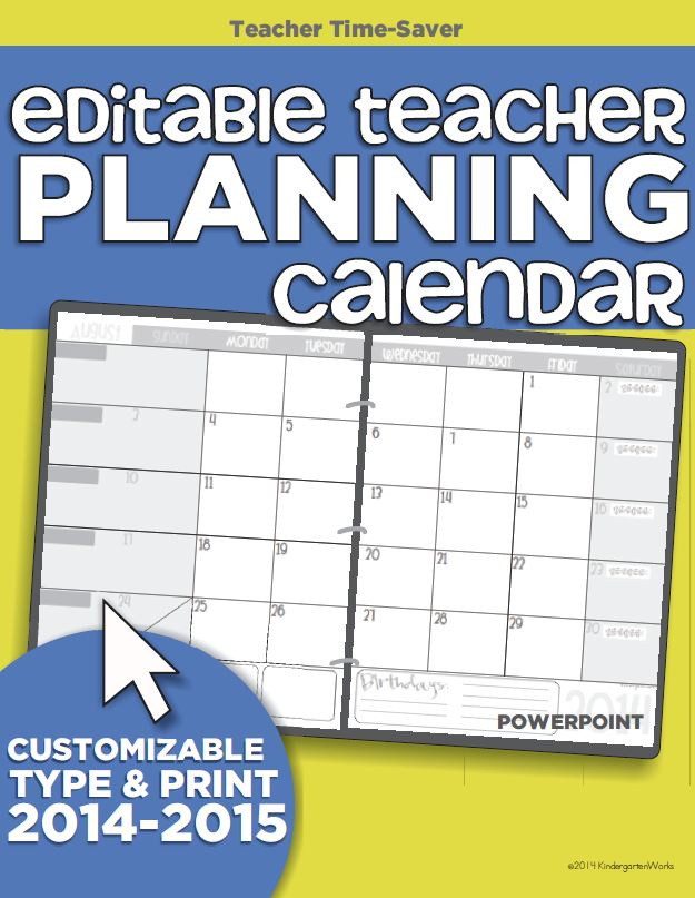 Free Printable Teacher Planning Calendar for 2015