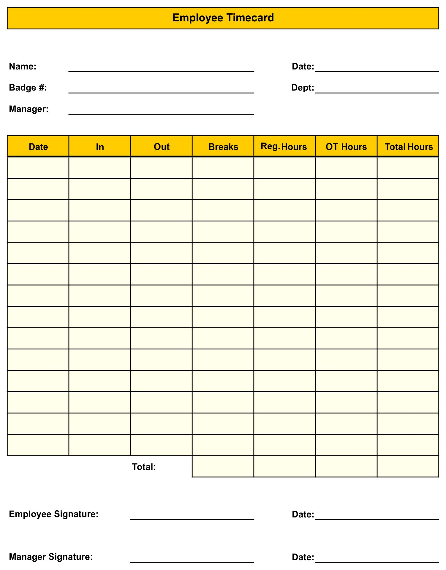 Printable Time Cards Sheets