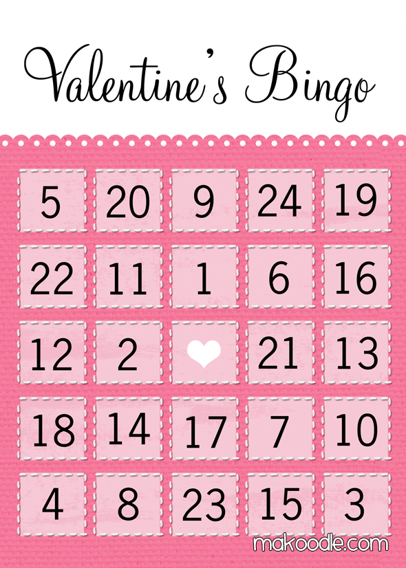 7 Images of Free Printable Valentine's Day Bingo